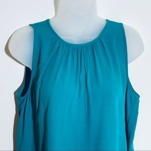 2 for $20: Ann Taylor teal tank w wrinkly fabric